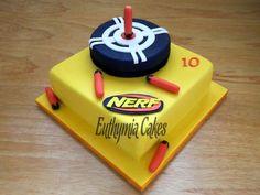 Nerf Birthday Party, Nerf Party, 10th Birthday Parties, 7th Birthday, Birthday Cakes, Birthday Ideas, Nerf Gun Cake, Gun Cakes, Cakes For Boys