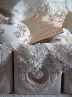 vintage lace Love the old drawers..... Antoinette paint color...:)