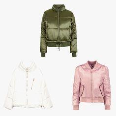 Zara short anorak, $99, zara.com; Topshop satin puffer jacket, $130, topshop.com; Boohoo Sarah MA-1 bomber, $35, boohoo.com
