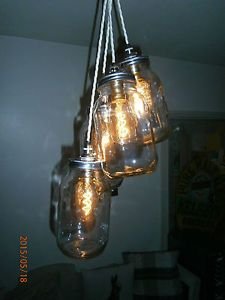 large cluster 4 glass kilner jam jar edisson bulbs pendant industrial delv avai