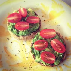 3. Avocado English Muffins: THE perfect lunch or afternoon snack!! Toasted Ezekiel English muffin (They also have gluten-free options. You can find sprouted bread products in the freezer section of your grocery or health food store) smeared with avocado, sea salt, fresh cracked pepper, and cherry tomatoes. So easy and so good! Nom nom nom nom….