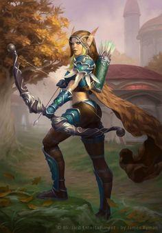 Sylvanas Windrunner by namesjames on DeviantArt.  Blood Elf.  Warcraft fan art.