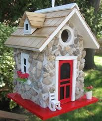 Fieldstone Guest Cottage🚛 A decorative wren hanging birdhouse made from real stone. Would look great in a fairy garden or a rock garden. Fieldstone Guest Cottage🚛 World of Birdhouses worldofbirdhou Decorative Bird Houses, Bird Houses Diy, Fairy Houses, Bird Houses Painted, Bird House Plans, Bird House Kits, Garden Ideas Homemade, Birdhouse Designs, Birdhouse Ideas