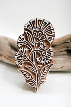 Hand carved Indian wood block stamp