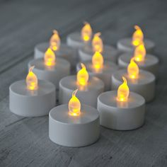 Pack of 12 LED flickering battery operated tea light candles supplied with batteriesOur best selling pack of tea lights with a simple white base and a soft rubber flame cap. These fit in any normal tea light holder and look great through frosted glass. Choose these battery operated LED tea lights for events and parties where normal naked flames are not permitted. These sail through all health and safety requirements and look just as good as the real thing with their animated ...