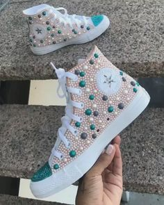 Behind The Scenes By kattycustoms Bedazzled Converse Diy, Custom Converse Shoes, Bedazzled Shoes, Custom Made Shoes, Bling Shoes, Custom Sneakers, Latest Sneakers, Sneakers Fashion, Clean Sneakers White
