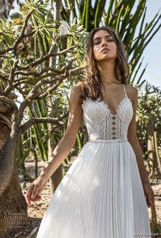 asaf dadush 2018 bridal spaghetti strap sweetheart neckline heavily embellished bodice pleated skirt romantic soft a line wedding dress open back sweep train (6) zv -- Asaf Dadush 2018 Wedding Dresses #weddingdress