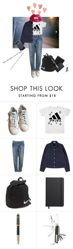 """Sleepless nights where daytime trivality becomes nighttime troubles"" by linnettebar ❤ liked on Polyvore featuring adidas, Pull&Bear, NIKE, Shinola and Parker"