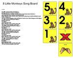 Song Board - 5 Little Monkeys –