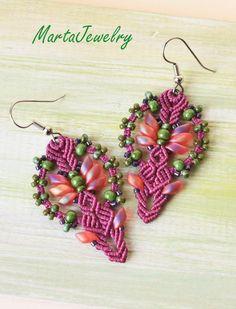 Magenta macrame earrings bohemian earrings by MartaJewelry