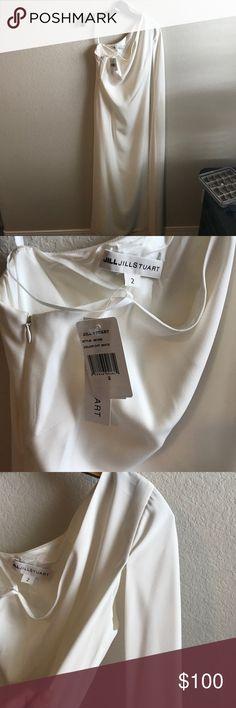 Floor length cape gown by JILL JILL STUART Never worn. NWT. Beautiful cream colored gown. Jill Stuart Dresses