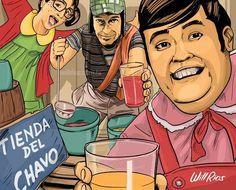 Turma do Chaves fazendo selfies, ilustração Will Rios
