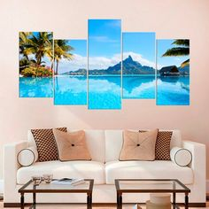Island Bora Bora Ocean Print Tropical Large Canvas Art Travel Poster Nautical Wall Baby Blue Decor Wall Hanging Seascape Painting Seascape by ArtPrintShopV on Etsy Beach Canvas Art, Large Canvas Art, Canvas Art Prints, Canvas Wall Art, Travel Wall Art, Map Wall Art, 3d Wall, Wall Murals, Sunrise Photography