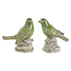 Set of 2 Ceramic Bird Figurines