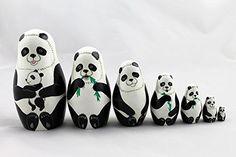 Matryoshka Russian Nesting Doll Babushka Beautiful Panda Family Pandas Set 7 Pieces Pcs Wooden Hand Painted Painting Souvenir Gift >>> For more information, visit image link.
