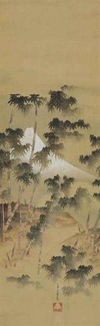 Oi Katsushika--Mount Fuji Through a Bamboo Forest
