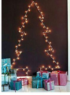 6 Weeks of Holiday DIY : Week 4 – Creative Christmas Lights! Wall Christmas Tree, Best Christmas Lights, Hanging Christmas Lights, Christmas Room, Noel Christmas, Modern Christmas, Xmas Tree, Christmas Ideas, Apartment Christmas