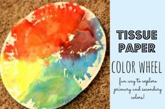 School Time Snippets: Tissue Paper Color Wheel-Explore Primary and Secondary Colors. Pinned by SOS Inc. Resources. Follow all our boards at pinterest.com/sostherapy/ for therapy resources.