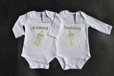 Twin Baby Funny Outfit humorous onesie for twins embroidered Drinking Buddies onesie with baby bottles customize for boy girl Monogram
