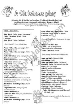 A Christmas Play (kids - ESL worksheet by merywell Christmas Plays For Kids, Christmas Play Scripts, Father Christmas, Christmas Ideas, Christmas Decorations, Christmas Tree, Short Drama Script, Play Scripts For Kids, Short Scripts