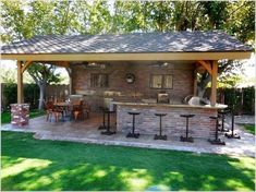 Outdoor Kitchen with Pergola . Outdoor Kitchen with Pergola . 53 Inspiring Outdoor Kitchen Design Ideas that You Can Try Backyard Pavilion, Backyard Bar, Backyard Patio Designs, Backyard Landscaping, Patio Ideas, Outdoor Ideas, Pergola Ideas, Outdoor Pergola, Diy Pergola