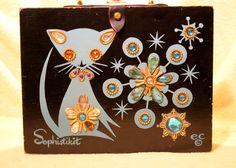 Vintage Enid Collins Sophistikit Cat Theme Wooden Box Bag Rhinestones   eBay