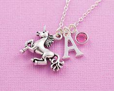 Unicorn necklace, personalized jewelry, initial necklace, swarovski birthstone, birthstone necklace, unicorn jewelry, unicorn gift, for her