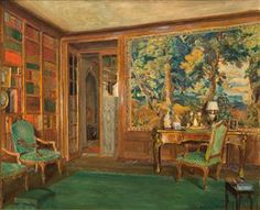 WALTER GAY  (American, 1856-1937)  THE LIBRARY OF MRS. OLIVER GOULD JENNINGS  1920, oil on canvas  signed Walter Gay lower right  18 1/2 x 21 1/2 in., frame: 24 1/4 x 28 1/4 in.