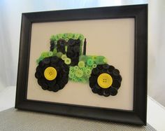 Art DIY - Button Tractor for Boys Transportation Room handmade-holidays Crafts For Boys, Diy And Crafts, Arts And Crafts, July Crafts, Button Art, Button Crafts, Black Button, John Deere Room, Craft Projects