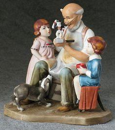 "RARE 1980 LIMITED EDITION NORMAN ROCKWELL ""THE TOYMAKER"" FIGURINE MINT Norman Rockwell Figurines, Garden Sculpture, Porcelain, Mint, Painting, Peppermint, Porcelain Ceramics, Painting Art, Paint"