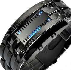 LNTGO Hot Sale Brand New Men Women Digital Sports Blue Luminous Binary Led Watch Black Stainless Steel Vogue Casual Lovers Watches * More info could be found at the image url.Note:It is affiliate link to Amazon.
