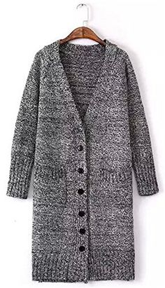 d99950fce Fashipap Women s Cable Chunky Knitted 5 Button Long Sleeves Grandad  Cardigans at Amazon Women s Clothing store