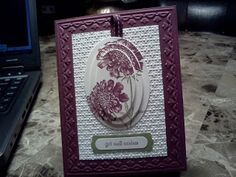 Get Well Wishes by atlstamper198 - Cards and Paper Crafts at Splitcoaststampers ~ Love the Oval Idea