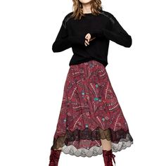 --evaChic--This Zadig & Voltaire Joslin Psyche Lace Trim Skirt is an airy flared skirt for summertime featuring contrast lace trim along its asymmetric hem. The lingerie-inspired number with the eye-catching psychedelic motif works with an array of summer wardrobe basics and can also be style for the winter.     https://www.evachic.com/product/zadig-voltaire-joslin-psyche-lace-trim-skirt/
