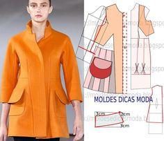 Passo a passo de molde de casaco para meia estação. No blogue existem bases largas, semi-largas e justas em diversos tamanhos.