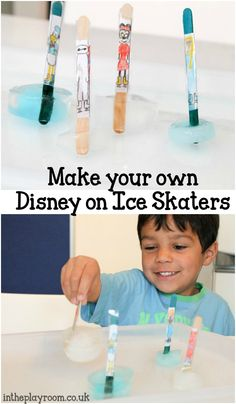 Make your own disney on ice skaters craft, with real ice. Fun to make and play with. Good for storytelling and small word as well as experimenting and observing the changes to the ice as it melts Fun Activities For Preschoolers, Educational Activities For Kids, Group Activities, Sensory Activities, Winter Activities, Sensory Play, Craft Stick Crafts, Crafts For Kids, Diy Toys Doll