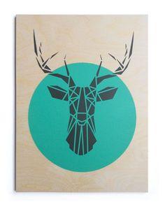 Tête de cerf grand. Contreplaqué. À la main. Pochoir Art. Géométrique. Origami Deer. Œuvres d'Art originales