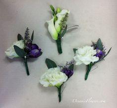 Purple and White Groom & Groomsmen Boutonnieres