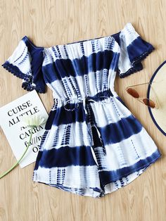 Dotfashion 2017 Women's White And Navy Summer Boho Romper Bardot Tie-dye Drawstring Waist Playsuit Off the Shoulder Playsuits Girls Fashion Clothes, Summer Fashion Outfits, Cute Summer Outfits, Cute Casual Outfits, Outfits For Teens, Stylish Outfits, Women's Fashion, Off The Shoulder Playsuit, Cute Rompers