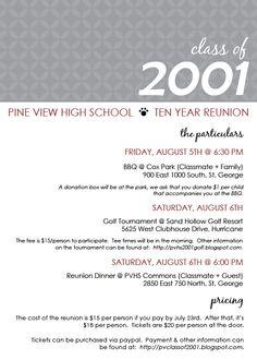 Blue Banner Class Reunion Invitation 10 year class reunion