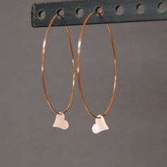 Large 14K Rose Gold Hoops with Heart Charms by CoconutCanopy