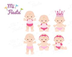 Cute baby girl clipart set printable great for baby by MiFiesta