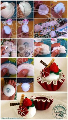 Tutorial with details of felt cup cupcake and of homemade tag Felt Food Patterns, Craft Patterns, Felt Diy, Felt Crafts, Fabric Crafts, Felt Cake, Felt Play Food, Pretend Food, Felt Quiet Books