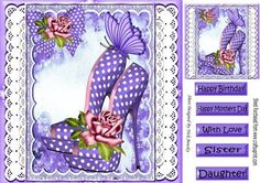 Pretty purple polkadot shoes with pink roses on lace 8x8 on Craftsuprint - Add To Basket!