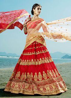 Buy Red-net-embroidered-work-wedding-wear-lehenga-choli-402-1 through Online Shopping from KollyBollyEthnics.com