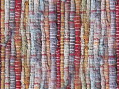 Woven rag rug ....  Photograph  (only) showing detail closeup.