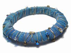 Sari Silk Ribbon Bangle Bracelet Blue Purple by EponasCrystals, $18.50