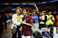 Susan Chambers, Executive Vice President of the People Division at Walmart, interacts with the crowd. #WMTShares