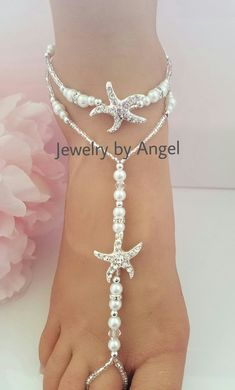 Beach wedding barefoot sandals-Bridal foot by JewelrybyAngelStore