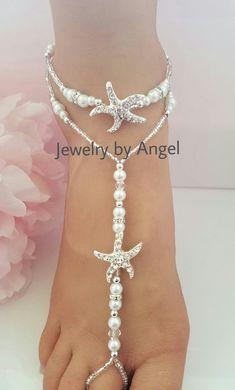 Strand Hochzeit barfuss Sandalen-Bridal Fuß von JewelrybyAngelStore